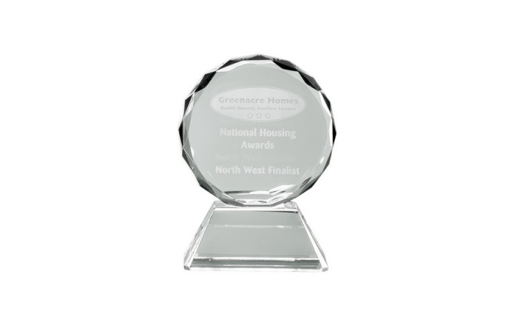 9cm Optical Crystal Mounted Facet Circle Award