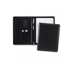 Black Ascot Leather A4 Zipped Deluxe Conference Folder