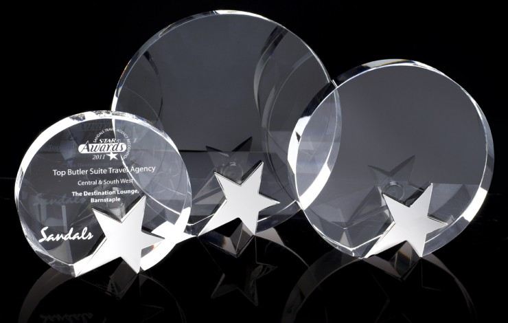 Round Crystal Award with Chrome Star