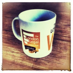 A carefully thought out 2 spot colour, screen printed, design. Well done London Legal Support Trust! #Mug #Promotion