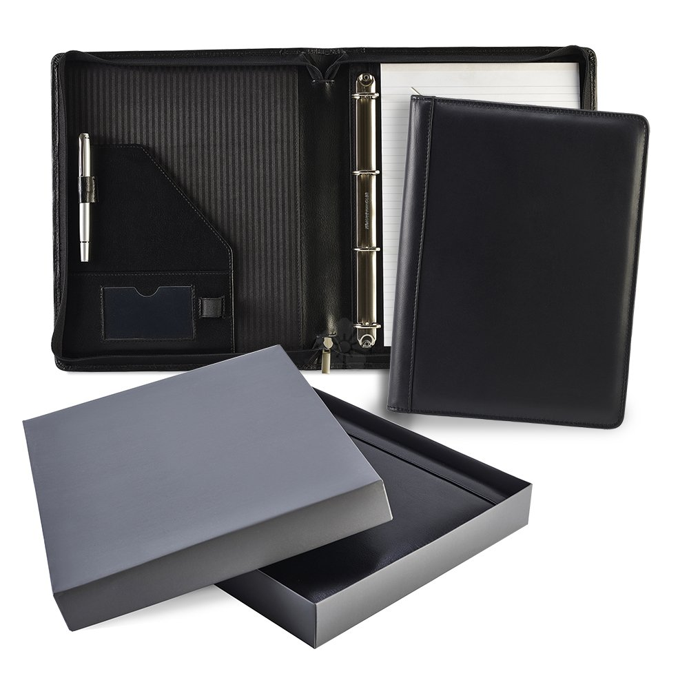 Promotional Ascot Leather A4 Zipped Ring Binder