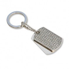 Diamante Dog Tag Key Ring