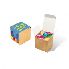 Eco Kraft Cube -  Foiled Chocolate Eggs
