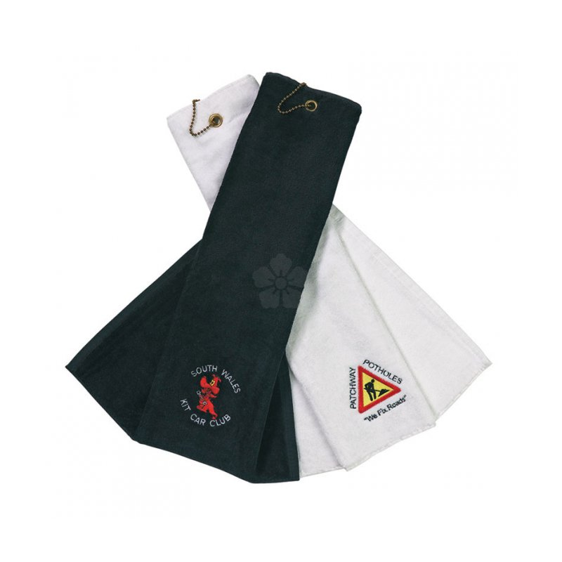 Promotional Velour Tri Fold Golf Towel Personalised By