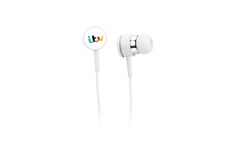 Silver Trim Earphones With Case
