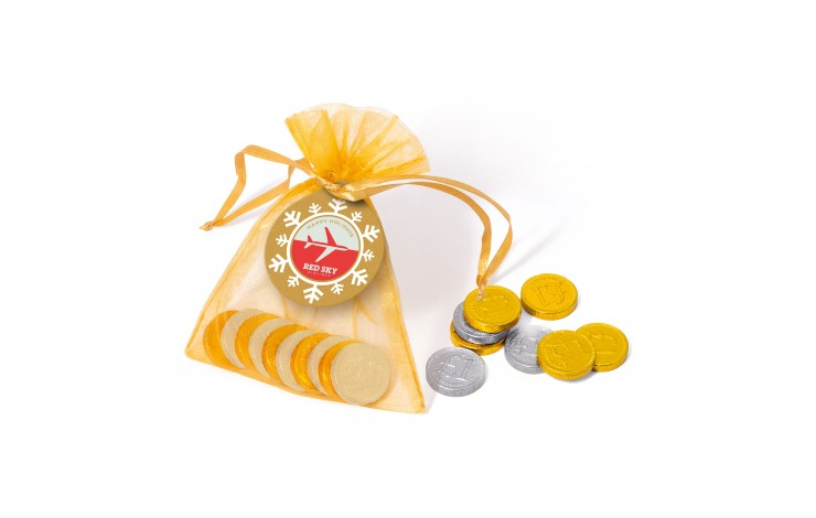Organza Bag with Chocolate Coins