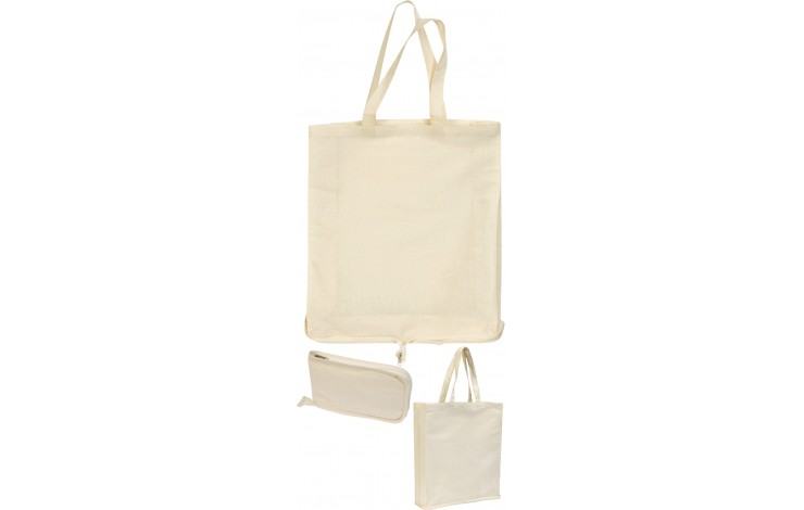 Zipped Cotton Fold-up Shopper